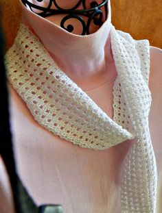Scarf Crocheted Narrow White Cotton Sparkle by Cozy, $18.00 USD