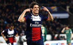 Download imagens Edinson Cavani, meta, O PSG, jogadores de futebol, futebol, Liga 1, O Paris Saint-Germain