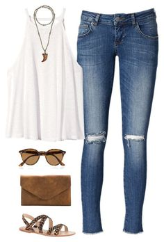 #summer #outfits / White Tank Top + Cheetah Sandals