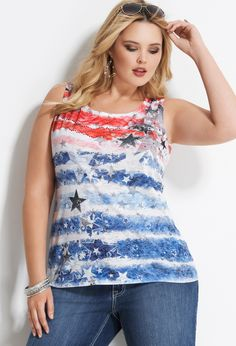 Flag Burnout Tank | Plus Size Tops from Avenue