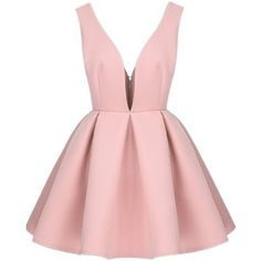 Sheinside Women's Blue/Pink/White V Neck Backless Midriff Flare Dress