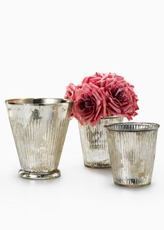 "Ribbed Antique Silver Tapered Cylinders 4"" d x 4"" h 