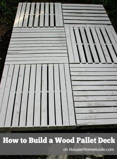 How to Build a Wood Pallet Deck : Outdoor Space | Details on HoosierHomemade.com #BHGRefresh