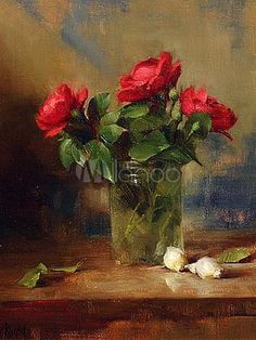 Gorgeous 50*60 cm Canvas Hand-made Oil Painting Of Flowers-No.