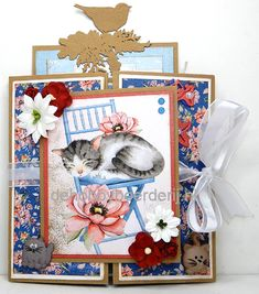 Pretty Images, Cat Cards, Paper Cards, Paper Background, Tim Holtz, Homemade Cards, Cool Cats, Kitten, Projects To Try