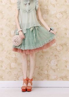 Layers of tulle in pastels.