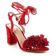 Red sandals with fringe Red Sandals, Platform, My Style, Heels, Fashion, Heel, Moda, Fashion Styles, High Heel
