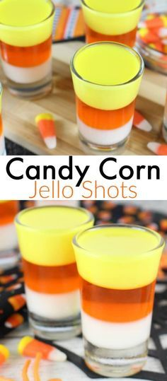 Candy Corn Jello Shots #thanksgiving #halloween2017 #HalloweenParty #halloweendrinks #candycorn