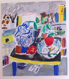 Bella Foster, Spanish Study (blue vase), 2012, Watercolor and gouache on paper, 11 x 9.5 inches,13.75 x 12.25 inches (framed)