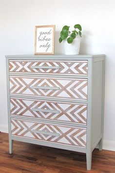 Em & Wit Furniture Design ~ Before and After: Tribal Dresser with Frog Tape - Upcycled Furniture Refurbished Furniture, Paint Furniture, Repurposed Furniture, Furniture Projects, Furniture Making, Furniture Makeover, Home Furniture, Furniture Design, Dresser Makeovers