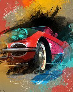 Chevy Corvette by Ron Grafe – En Güncel Araba Resimleri F1 Posters, Chevy, Man Cave Art, Arte Disney, Car Illustration, Motorcycle Art, Car Drawings, Automotive Art, Car Painting