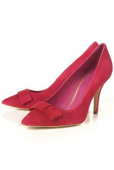 GLACIER Pink Suede Bow Pointed Court Shoes - Heels - Shoes