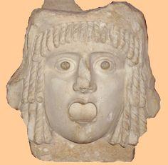 """""""Representación en piedra de una máscara de comedia.  Ashmoleam Museum (Oxford, Reino Unido).  (Foto: Roberto Lérida Lafarga 05/08/200)"""" Información tomada de catedu."""