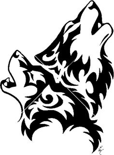 i like the idea of the two wolves howling together, not so much on the tribal design...