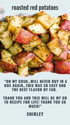 Roasted red potatoes are a delicious side dish that pairs perfectly with just about everything. This recipe for crispy roasted potatoes is incredibly easy to make. As a result, you can serve them for any meal of the day! Potato Sides, Potato Side Dishes, Best Side Dishes, Veggie Dishes, Food Dishes, Red Potato Recipes, Roasted Potato Recipes, Veggie Recipes, Cooking Recipes
