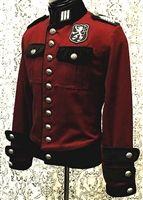 Shrine - Royal Marine Jacket - BURGUNDY DENIM WITH BLACK VELVET