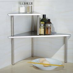 Cook N Home 2-Tier Corner Storage Shelf, Stainless Steel