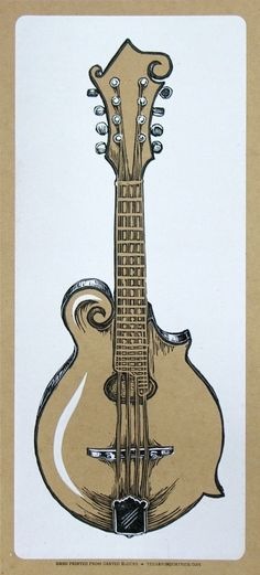 HandCarved MANDOLIN Print  STRING INSTRUMENT  Hand by YeeHaw, $22.00