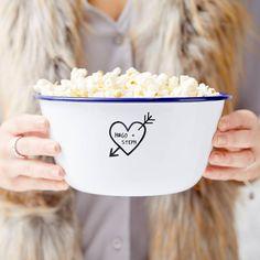 Carved Heart Enamel Personalised Popcorn Bowl
