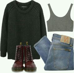 sweater pants outfit indie hipster grunge DrMartens crop tops shirt tank top Source by miriammeehan clothes outfits Indie Outfits, Grunge Outfits, Casual Outfits, Fashion Outfits, Grunge Clothes, Fashion Clothes, Casual Boots, Simple Edgy Outfits, Hipster School Outfits