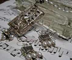 Necklace Silver PMC Pendant and Rice Pearls OOAK