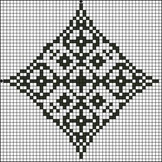 Free Floral Diamond Three Counted Cross Stitch Pattern