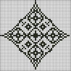 Free Floral Diamond Three Counted Cross Stitch Pattern