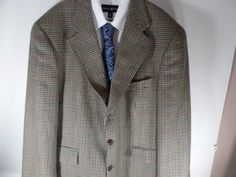 44R Chaps Ralph Lauren Mens Houndstooth Sport Coat Blazer Suit Jacket Wool  #ChapsRalphLauren #ThreeButton