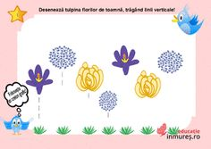 Deseneaza tulpina florilor cu linii verticale
