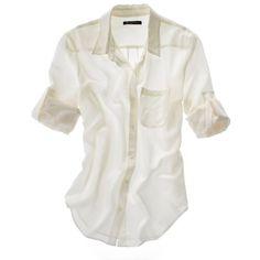 MADEWELL Solid Silk Boyshirt ($70) ❤ liked on Polyvore