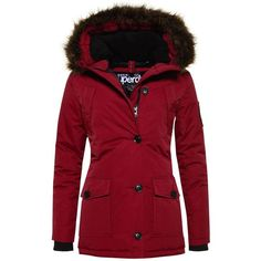 Superdry Everest Parka Jacket ($155) ❤ liked on Polyvore featuring outerwear, jackets, wine, women, red parkas, fleece lined jacket, red jacket, nylon jacket and parka jacket