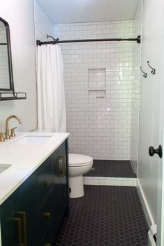 Modern Bathrooms Remodeled Bathrooms Modern Bathroom Mid Century Bathroom Cement Tile Bathroom Black and White Bathroom Modern Renovated Bathrooms White Vanity Bathroom, Small Bathroom, Bathroom Black, Bathroom Ideas, Bathroom Vanities, Bathroom Organization, Black Bathroom Floor, Bathroom Photos, Modern Bathroom Design