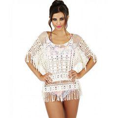 c0bbab69974427 Ladies beachwear cream circle and square design cotton crochet top
