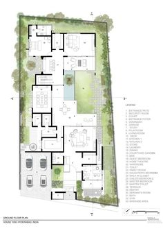 Image 10 of 13 from gallery of House 1058 / Khosla Associates. Photograph by Khosla Associates Large Floor Plans, Modern Floor Plans, Contemporary House Plans, Modern House Plans, Modern House Design, House Floor Plans, Layouts Casa, House Layouts, Villa Design