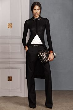 A silk pattern accented oversize light wool sweater are perfect companions for a pair of perfect black pants and a crime novel.   Jason Wu | Pre-Fall 2014 Collection | Style.com