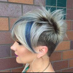 Blonde and blue undercut short hair pixie