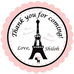 Paris Birthday or Baby Shower Tags labels or by mylittleworldstore, $7.50