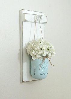 Chic  Farmhouse Painted Wood Wall Decor... Hanging Mason Jar #GlassWallSconce