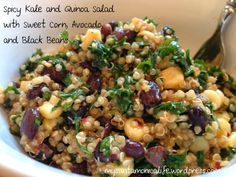 Spicy Kale and Quinoa Salad with Sweet Corn Avocado and Black Beans