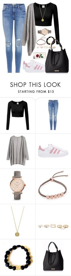 """""""Untitled #1351"""" by blossomfade ❤ liked on Polyvore featuring Frame, adidas Originals, FOSSIL, Monica Vinader, Senso, LULUS and Casetify"""