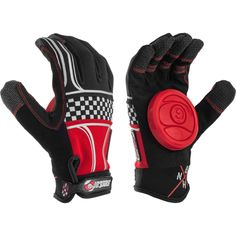 Sector 9 BHNC Slide Gloves + Palm Pucks Size S/M Red Checkered or Black
