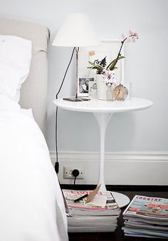 tulip bedside table - sleek option