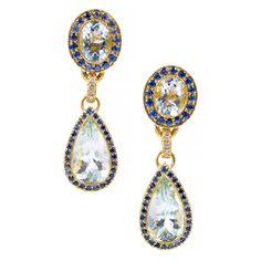 Aqua Sapphire Diamond Yellow Gold Dangle Earrings | From a unique collection of vintage dangle earrings at https://www.1stdibs.com/jewelry/earrings/dangle-earrings/