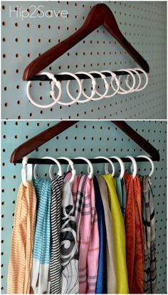 Instead of devoting a hanger to each of your scarfs (or worse, knotting multiples on one and causing major wrinkles), use shower rings to create individual holders for your entire collection. Click th (Diy Closet) Scarf Organization, Home Organization, Organizing Ideas, Organizing Shoes, Walk In Closet Organization Ideas, Dresser Drawer Organization, Organisation Ideas, Closet Bedroom, Master Closet
