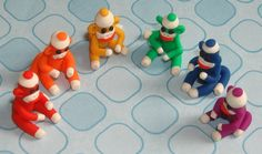 Miniature Sock Monkey Rainbow Set - World's Smallest Minis - Handmade in Polymer clay by MagicByLeah $75