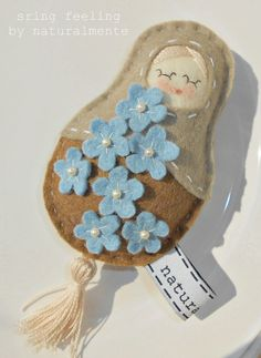 my ladyfinger doll - felt/wool - with blue flowers