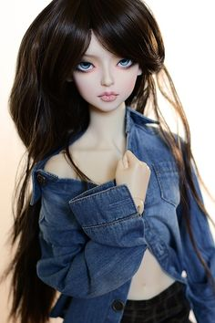 i should show my bjd's more but sometimes im to lazy for posting then on different sides. This is Adriana, known as Sascha before. I change her name, the eyes and the wig - i think her style/ name fits better for her personality!She stole one of the boys shirts - dont tell them ;)