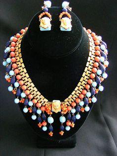 Fabulous Vtg Miriam Haskell Egyptian Revival Pharaoh Necklace and Earring Set | eBay