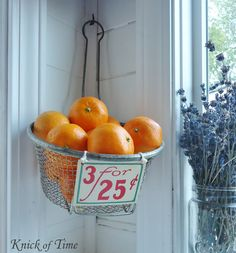 Using vintage baskets of any sort can add so much to your space. Use an old fryer basket to hold fruit. Mabey add a tag to finish it off <3