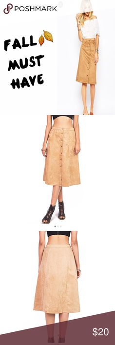 Fall Trend 🍂Faux Suede Midi ✨Soft faux suede a line midi skirt.                             ✨Buttons down front center.                                    ✨Pockets on both sides.                               NWOT condition. Cute with cropped top, tshirt tucked in or cardigan. Can be dressed up or down. Great condition ✅ Free people listing is for exposure only! ASOS Skirts Midi